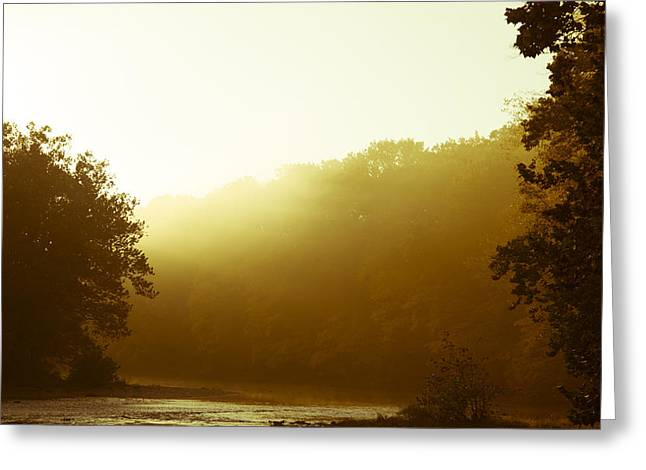 Greeting Card featuring the photograph Sunrise Thru The Fog by Phil Abrams