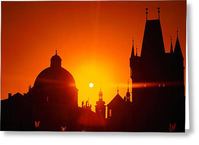 Sunrise Tower Charles Bridge Czech Greeting Card by Panoramic Images