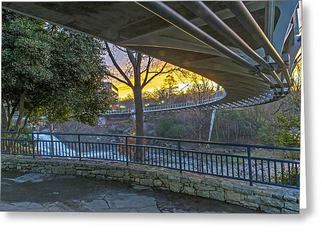 Sunrise Under Liberty Bridge At Falls Park Greenville Sc Greeting Card