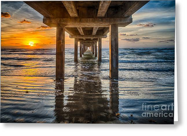 Sunrise Under The Pier Greeting Card by Tod and Cynthia Grubbs