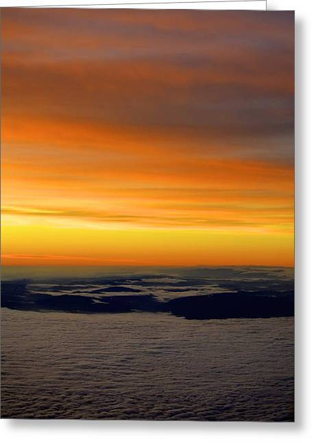Sunrise View From Plane Greeting Card by Alex King