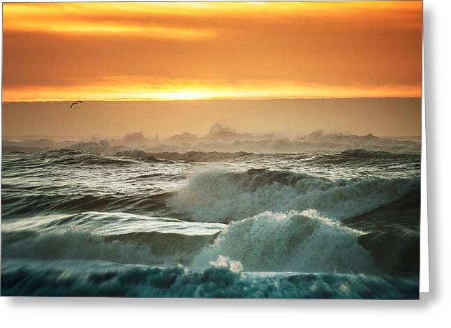 Sunrise Waves At Fire Island Greeting Card by Vicki Jauron