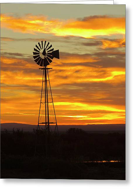 Sunrise, Windmill, Cimarron, New Greeting Card