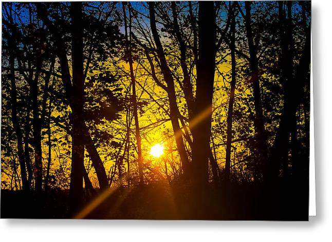 Sunrise With Blue - Horizontal Greeting Card