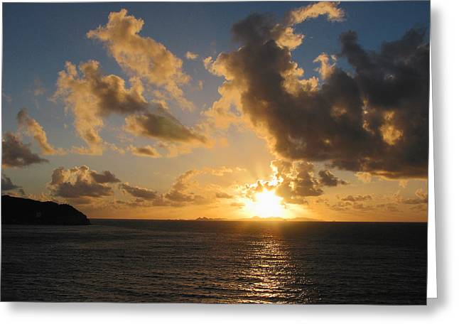Sunrise With Clouds St. Martin Greeting Card by Susan Savad