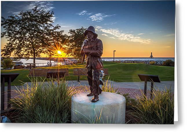Sunrise With The Fisherman Greeting Card