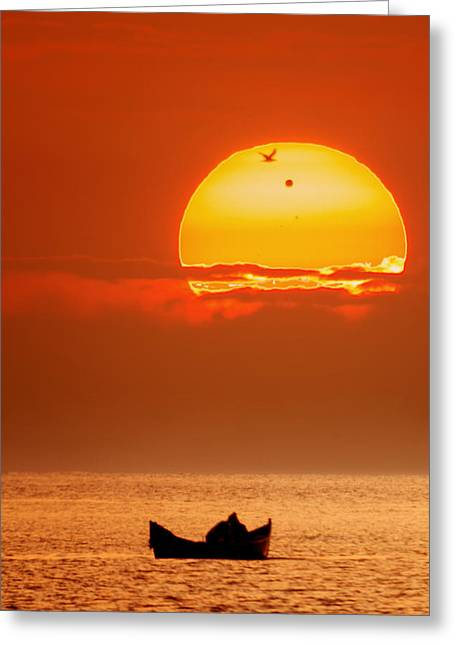 Sunrise With Venus On It Greeting Card by Alex Conu