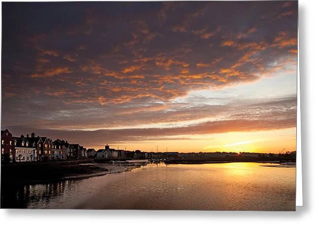 Greeting Card featuring the digital art Sunrise Wivenhoe by David Davies