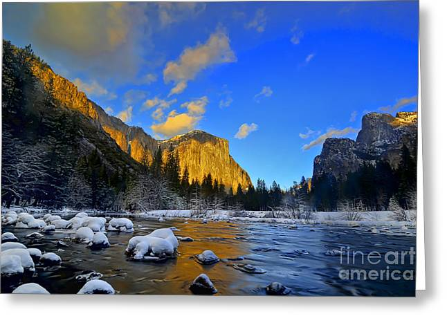 Sunrise Yosemite Valley Greeting Card by Peter Dang