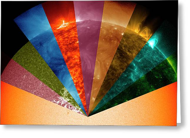 Sun's Surface At Different Wavelengths Greeting Card by Nasa Goddard Space Flight Center