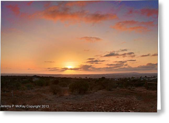 Greeting Card featuring the photograph Sunset @ Rim Trail by Jeremy McKay
