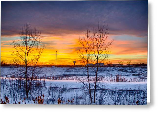Sunset 1-3-14 Northern Illinois 003 Greeting Card by Michael  Bennett