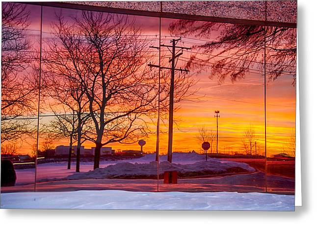 Sunset 1-3-14 Northern Illinois 005 Greeting Card by Michael  Bennett