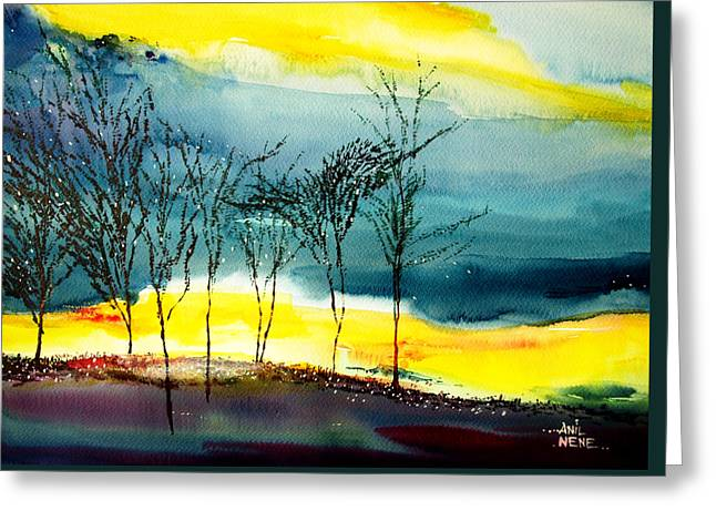 Sunset 3 Greeting Card by Anil Nene