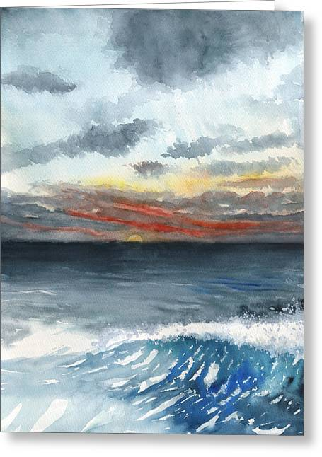 Sunset 32 Behind La Jolla Cove Greeting Card