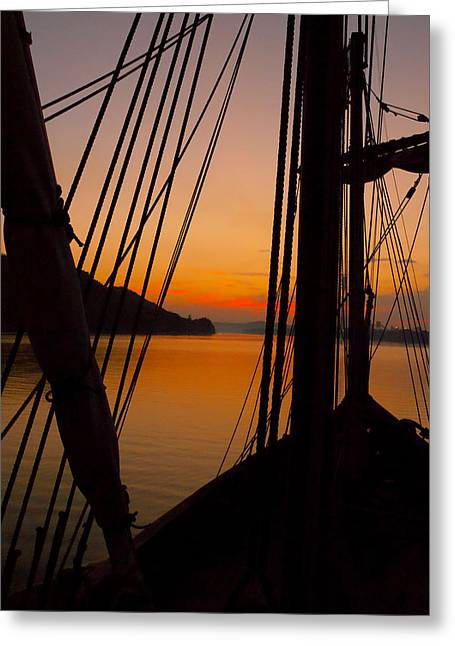 Sunset Aboard The Nina Greeting Card by Wayne Stacy
