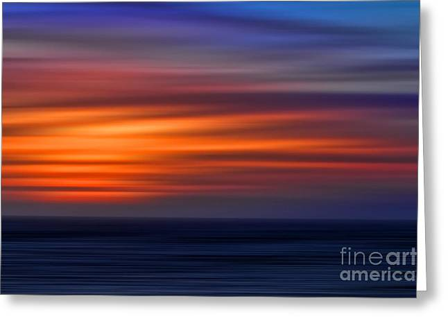 Sunset Abstract Greeting Card by Clare VanderVeen