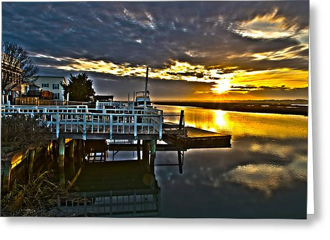 Sunset Across The Inlet Greeting Card