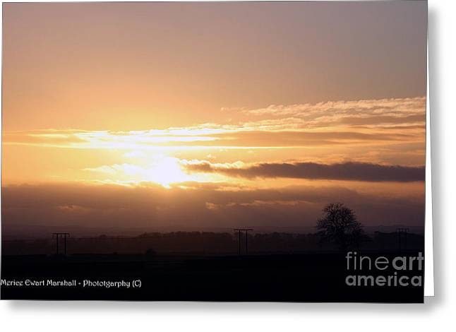 Sunset Across The Wolds Greeting Card by Merice Ewart