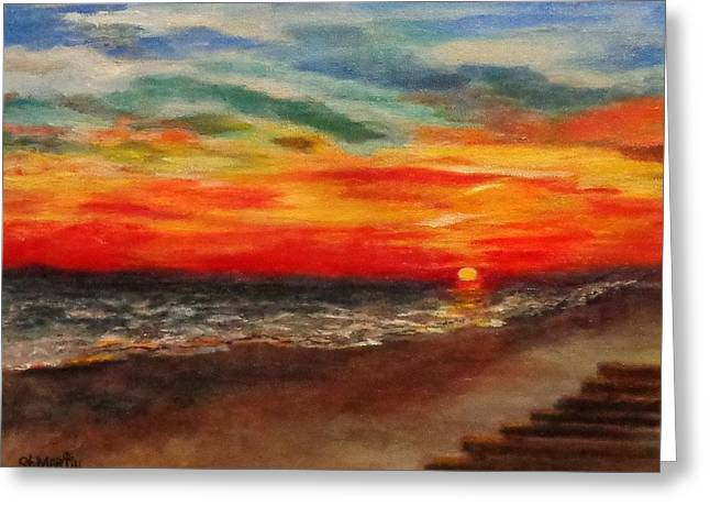 Sunset After Sandy Greeting Card by Annie St Martin