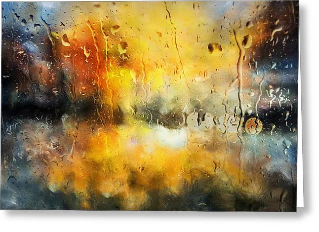 Sunset After The Storm Abstract Greeting Card