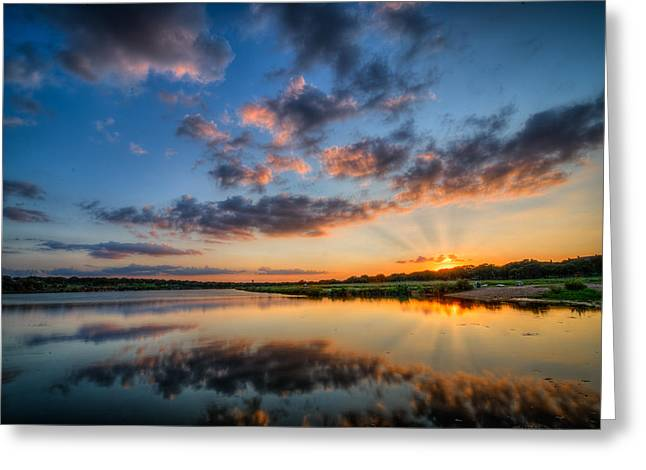 Sunset Along The Brushy Greeting Card by Jeffrey W Spencer