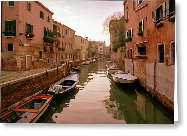 Sunset Along The Canals Of Venice Greeting Card