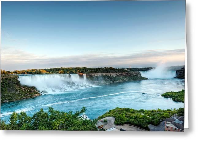 Sunset American And Canadian Falls At Niagara  Greeting Card by Marek Poplawski