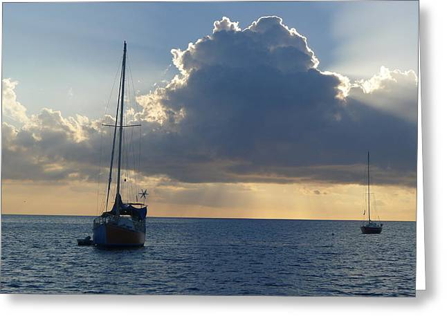 Sunset And Boats - St. Lucia Greeting Card