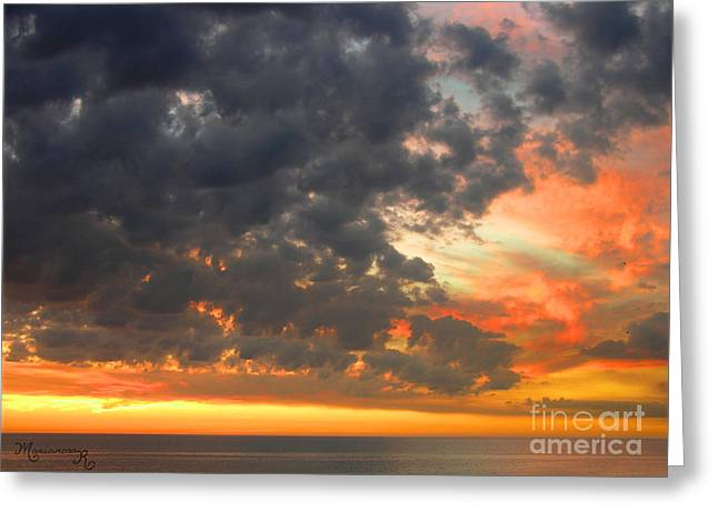 Sunset And Clouds Greeting Card by Mariarosa Rockefeller