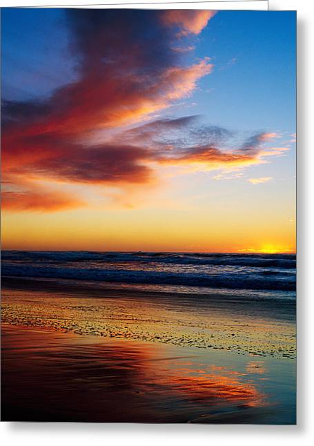 Sunset And Clouds Over Pacific Ocean Greeting Card