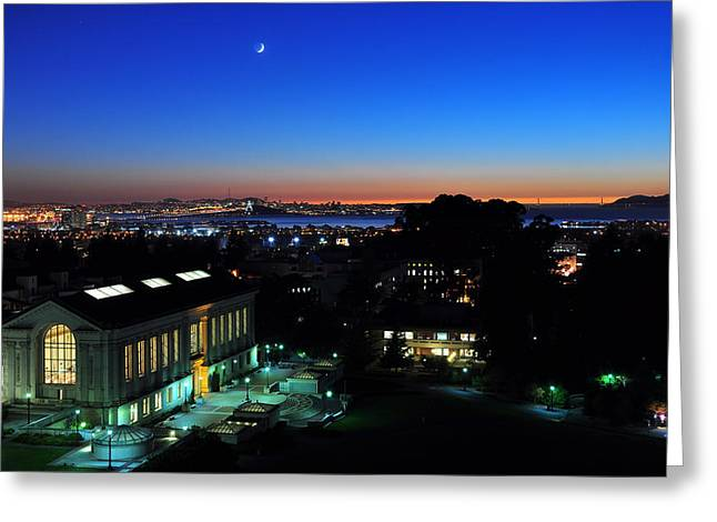 Sunset And Crescent Moon Over Campus Greeting Card