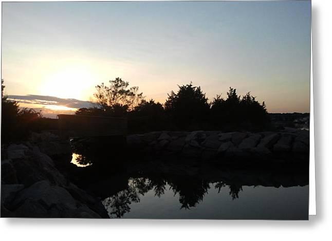 Sunset And Fishing Greeting Card by Anastasia Konn