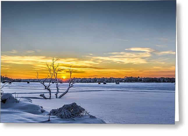 Sunset And Ice Shanties Greeting Card by Randy Scherkenbach