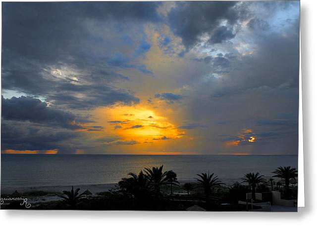 Sunset And Rain Greeting Card by Mariarosa Rockefeller