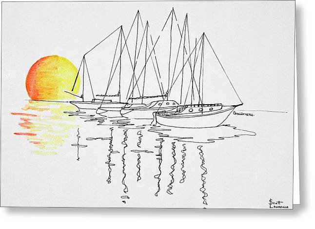 Sunset And Sailboat Reflection Greeting Card