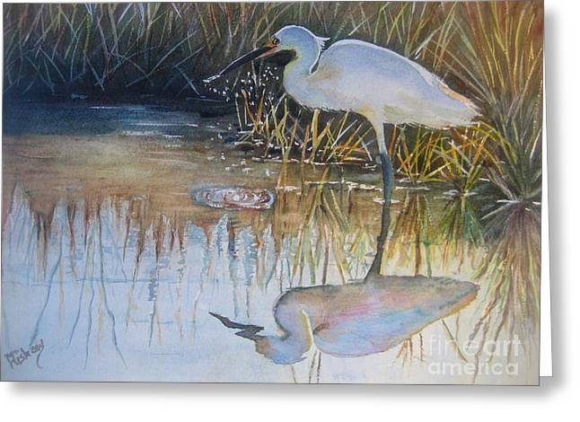 Sunset And Snowy Egret Greeting Card