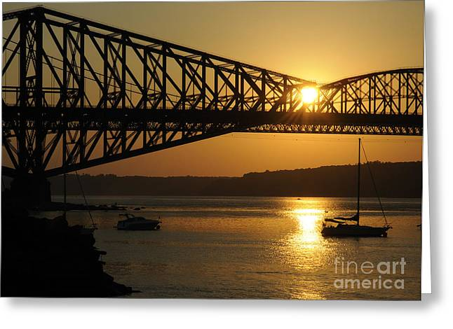 Sunset And The Pont De Quebec Greeting Card by Colin Woods