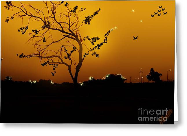 Sunset And Tree Greeting Card by Artist Nandika  Dutt