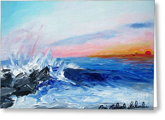 Sunset And Waves At West Cape May Greeting Card by Eric  Schiabor