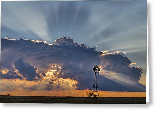 Sunset And Windmill Greeting Card by Rob Graham