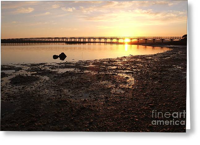 Sunset And Wooden Bridge In Ludo Greeting Card