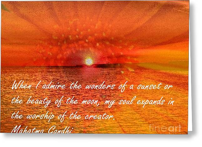 Sunset And Worship Of The Creator By Saribelle Rodriguez Greeting Card by Saribelle Rodriguez