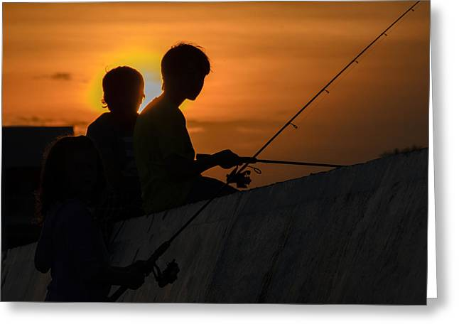 Sunset Anglers Greeting Card