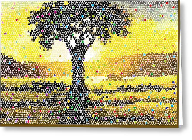 Greeting Card featuring the painting Sunset Beauty by Anthony Mwangi