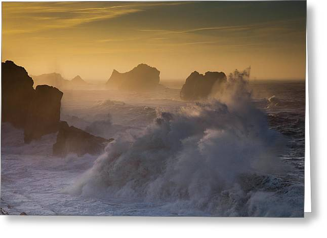 Sunset. Arnia. Cantabria. Spain Greeting Card