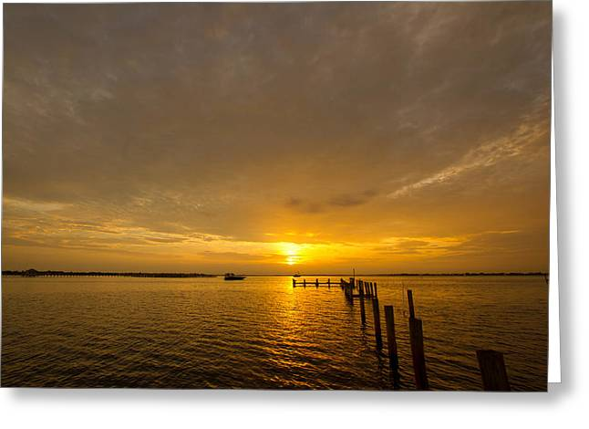 Sunset At A Weathered Pier At Port Charlotte Harbor Near Punta  Greeting Card by Fizzy Image