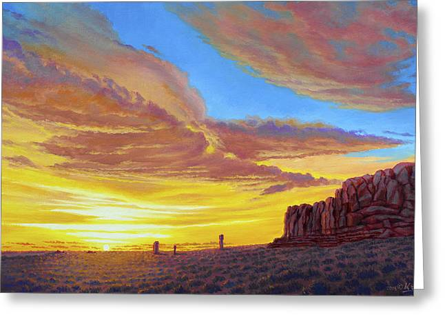 Sunset At Arches Greeting Card