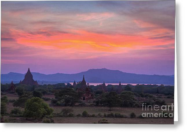 Sunset At  Bagan Burma Greeting Card by Craig Lovell
