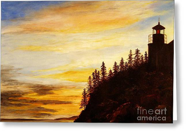 Greeting Card featuring the painting Sunset At Bass Harbor by Lee Piper